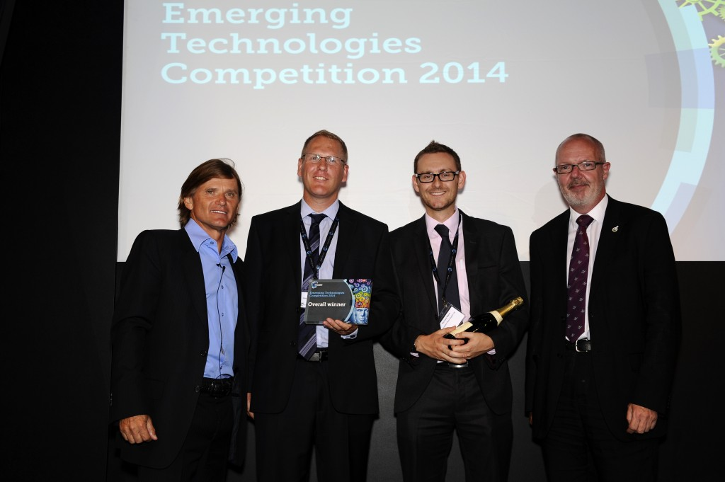 Dr Alan Cooper and Dr Richard Ward receiving the Emerging Technologies competition winners prize from Dragon's Den's Richard Farleigh and the RSC Chief Executive Robert Parker(photo credit to MPP Image Creation / Royal Society of Chemistry)